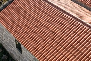 High angle view of a new roof made of traditional clay tiles