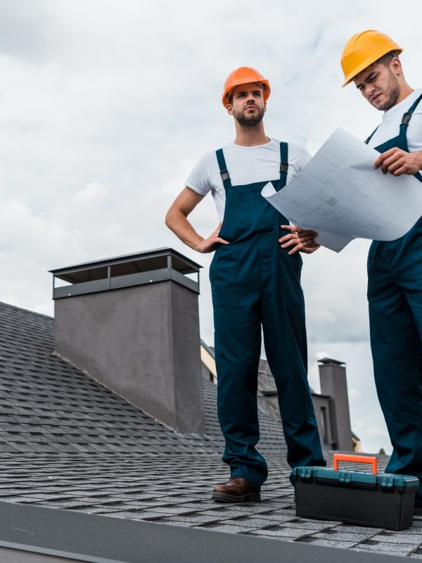 Brentwood - architect standing on roof with hands on hips near coworker with paper